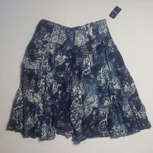 Chaps Tiered Skirt Boho Blue Cotton XL NWT